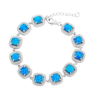 La Preciosa Sterling Silver Created Blue Opal and Cubic Zirconia Square Link Bracelet