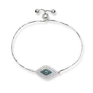 Sterling Silver Light Blue Cubic Zirconia Evil Eye Adjustable Bolo Bracelet