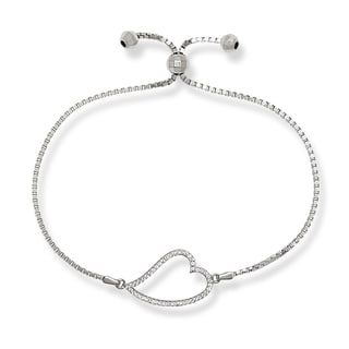 Sterling Silver Cubic Zirconia Open Heart Adjustable Bracelet