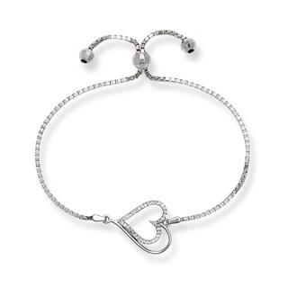 Sterling Silver Cubic Zirconia Double Heart Adjustable Bolo Bracelet