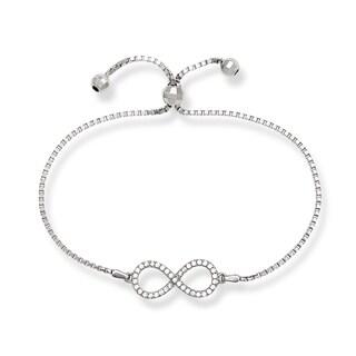 Sterling Silver Reversible Cubic Zirconia Infinity Figure 8 Adjustable Bracelet