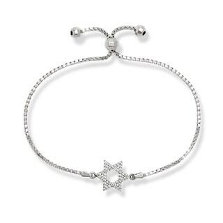 Sterling Silver Cubic Zirconia Star of David Adjustable Bolo Bracelet