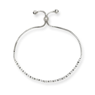 Sterling Silver Cubic Zirconia Tennis Style Adjustable Bolo Bracelet