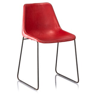 HUDSON LEATHER DINNING CHAIR RED