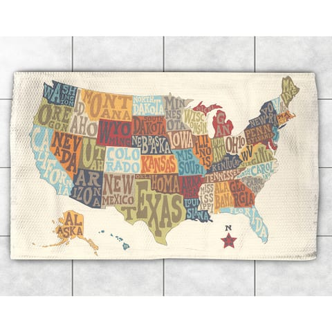 Typographic States Collage Accent Rug (4' x 6') - 4' x 6'
