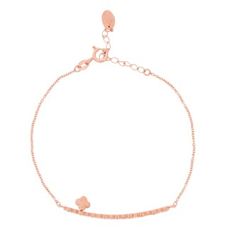 Blue Box Jewels Rose Gold over Silver Short Bar Clover Pendant Bracelet