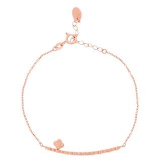 Blue Box Jewels Rose Gold over Silver Short Bar Clover Pendant Bracelet