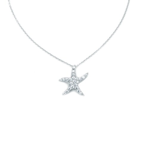 Blue Box Jewels Rhodium-plated Sterling Silver Starfish Cubic Zirconia Chain Bracelet