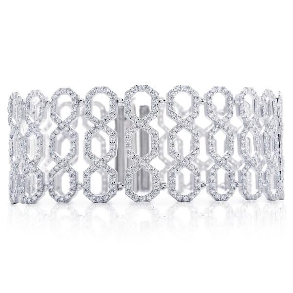 Blue Box Jewels Sterling Silver Cubic Zirconia Treillage Shaped Bracelet