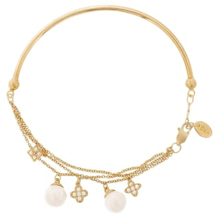 Blue Box Jewels Gold over Silver Faux Pearl Clover and Cubic Zirconia Bracelet