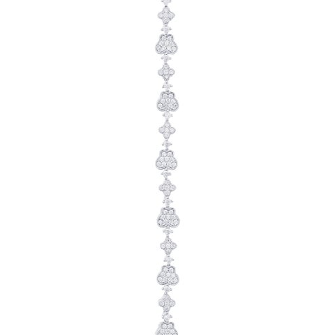 Blue Box Jewels Rhodium-plated Sterling Silver Clover Cubic Zirconia Chain Bracelet
