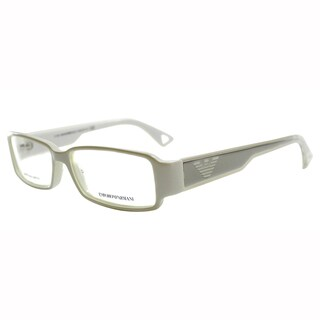 Emporio Armani Unisex White Plastic Rectangle Eyeglasses