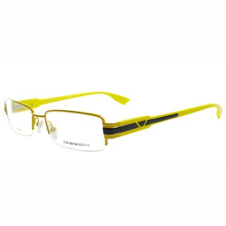 Emporio Armani Men's Yellow Semi-Rimless Metal Rectangle Eyeglasses