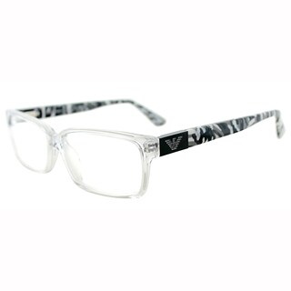 Emporio Armani Men's Military Black and Clear Rectangle Plastic Eyeglasses