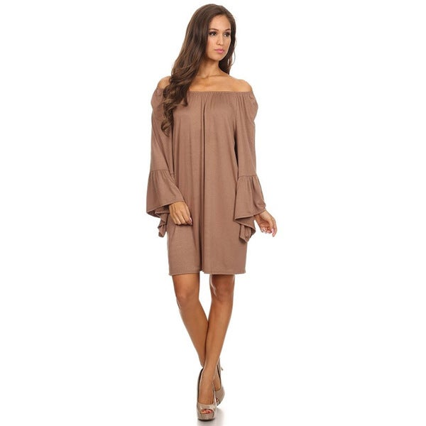 MOA Collection Women's Solid Knit Tunic Dress
