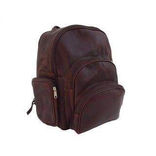 Piel Leather Chocolate Expandable Backpack