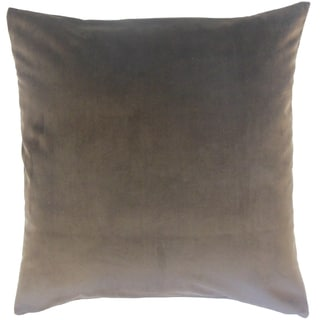 Nizar Solid Coal 18-inch Feather and Down Filled Throw Pillow