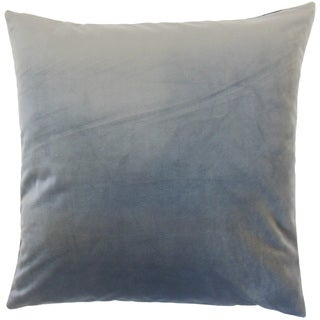 Nizar Solid Steel 18-inch Feather and Down Filled Throw Pillow