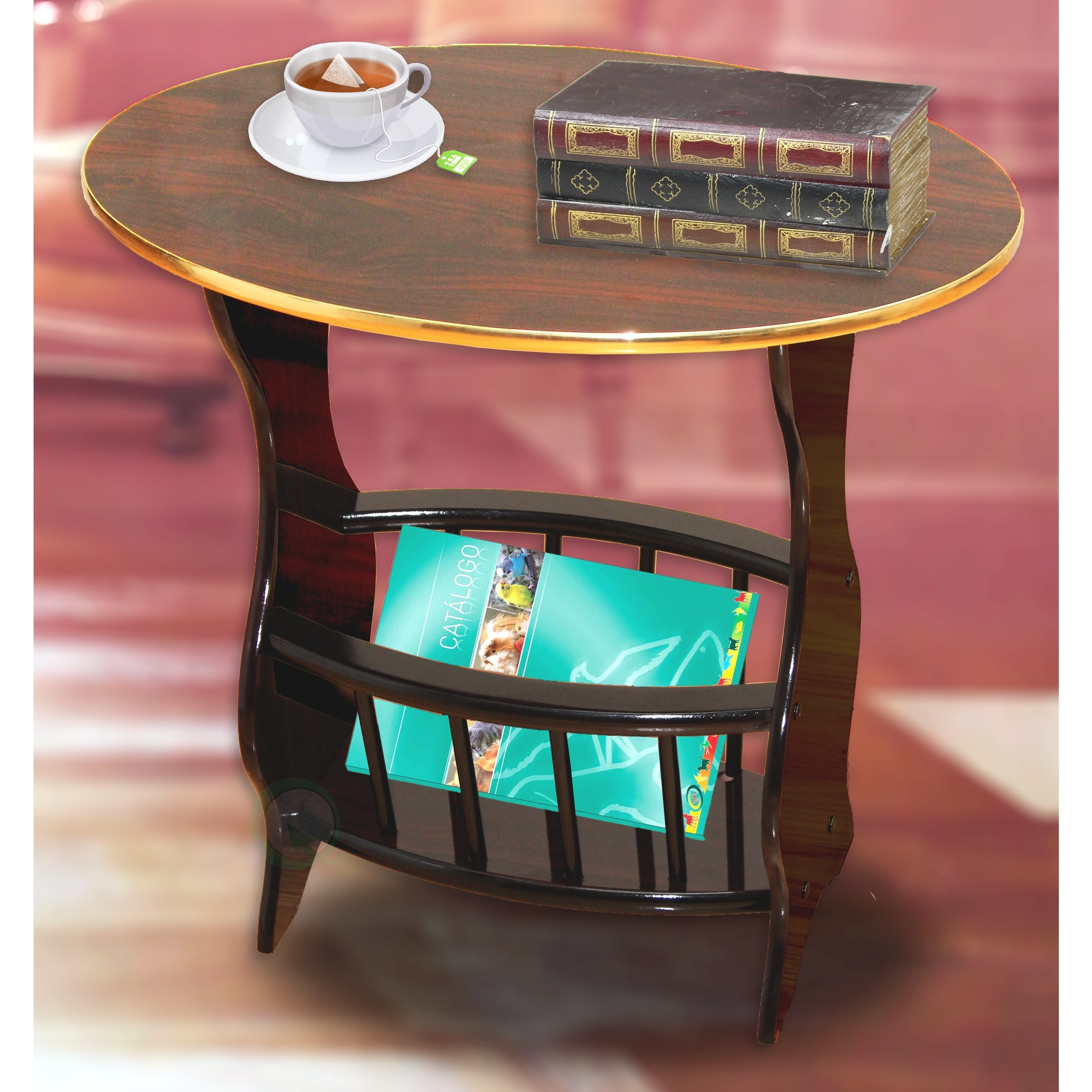 Espresso-Oval-Side-Table-with-Magazine-Holder thumbnail 10