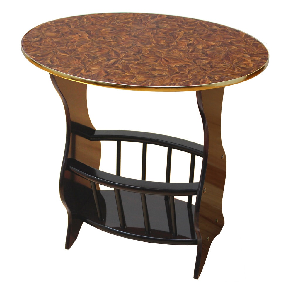 Espresso-Oval-Side-Table-with-Magazine-Holder thumbnail 9