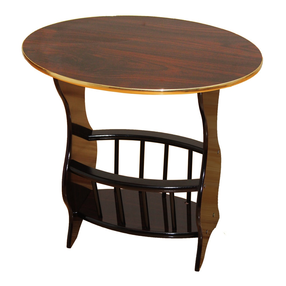 Espresso-Oval-Side-Table-with-Magazine-Holder thumbnail 8
