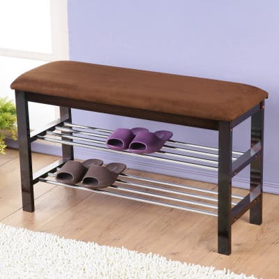 Dark Espresso Wood Shoe Bench with Chocolate Microfiber Seat
