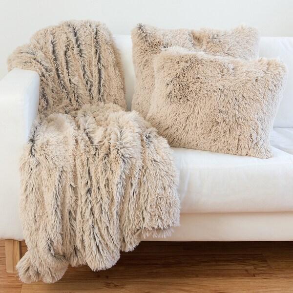 shag faux fur pillow u0026 throw set