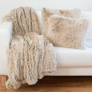 Shag Faux Fur Pillow & Throw Set