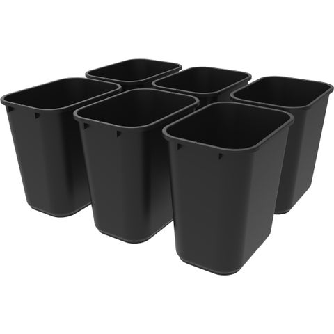 Storex Medium Waste Basket Black (6 units/pack)