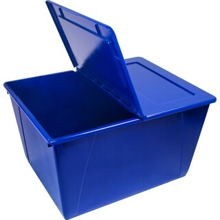 16 Gallon (60L) Storage Tote with Folding Lid Blue
