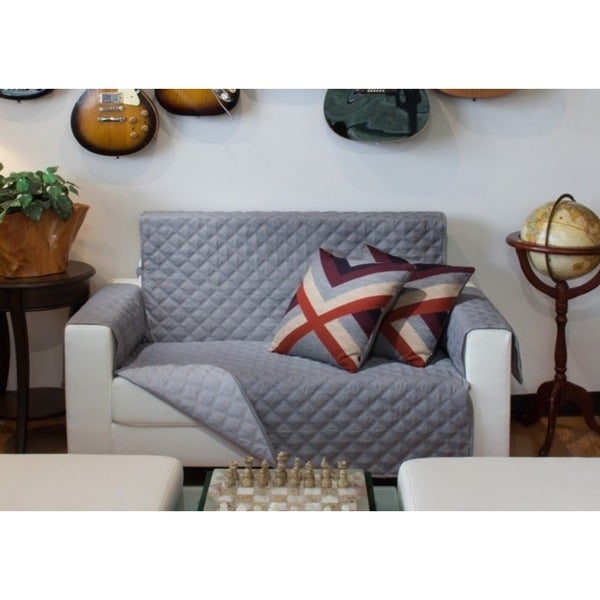 Perfect Fitting Diamond Quilted Reversible Love Seat Cover Free Shipping On Orders Over 45