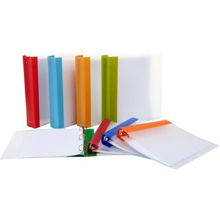 "Storex Tear-Resistant Poly Binder /1.5""-Inch/ Clear + Colored Spine"