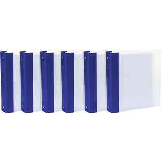 """Storex Tear-Resistant Poly Binder /1.5""""-Inch/ Clear + Colored Spine (Option: Blue/White/White)"""