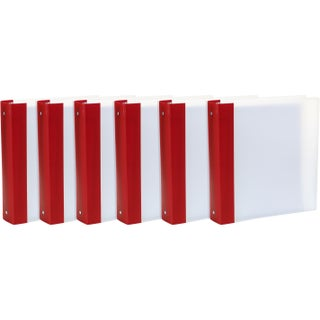 "Storex Tear-Resistant Poly Binder /1.5""-Inch/ Clear + Colored Spine (Option: red/white/White)"