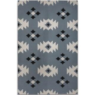 Sonora Blue Flat-weave Wool Rug (3' x 5')