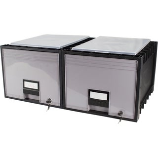 Plastic Archive Storage Box with Lid and Lock Letter Size 18-Inch Drawer