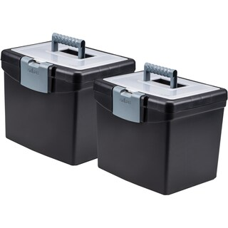 Storex Portable File Box, with XL Storage Lid, Black (Case of 2 units)