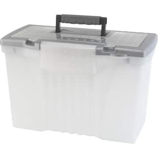 Storex Portable File Box with Organizer Lid