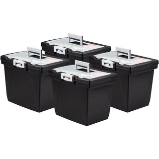 Storex Value Portable File Box + Organizer storage compartment inside the Lid (4 units/pack)