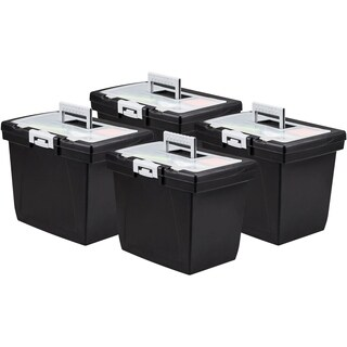 Storex Nesting File Storage Box, Black/Gray, 4-Pack