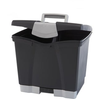 Storex Portable File Box with Pull-Out Tray