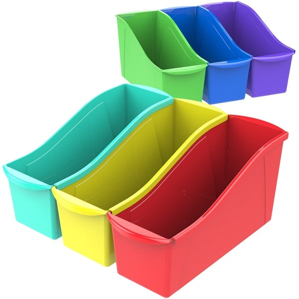 Storex Large Book Bin, Assorted Colors, 30-Pack
