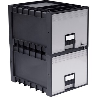 Plastic Archive Storage Box with Lock, Letter Size 18-Inch w Drawer (2 options available)
