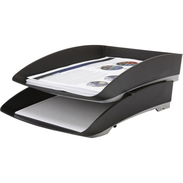 storex stacking letter tray with rubber grip