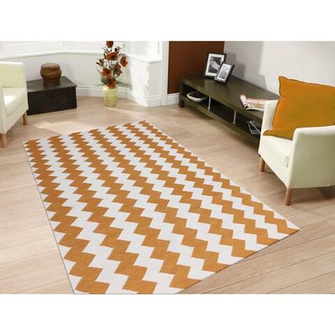 Sonora Orange Flat-weave Chevron Rug - 5' x 8'