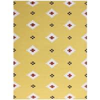 Sonora Yellow Flat-weave Wool Rug - 5' x 8'