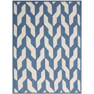 Sonora Blue Flat-weave Wool Rug (5' x 8')