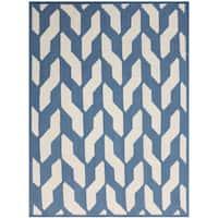 Sonora Blue Flat-weave Wool Rug - 5' x 8'