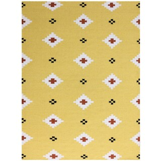 Sonora Yellow Flat-weave Wool Rug (8' x 10')