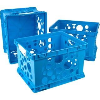 Storex Large Storage and Filing Crate with Comfort Handles (Option: blue/white (3 units/pack))
